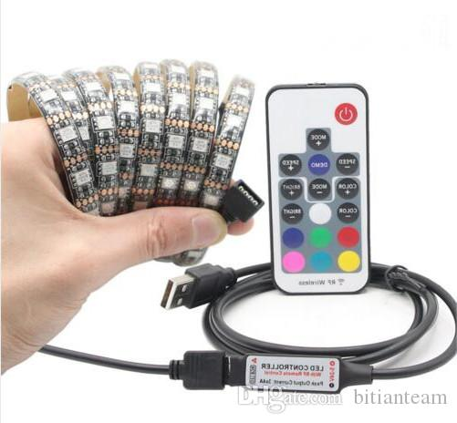DIY 5050 RGB LED Tira impermeable DC 5V USB LED Tiras de luces Cinta flexible 50cm 1M 2M 3M 4M 5M agregar control remoto para el fondo de TV