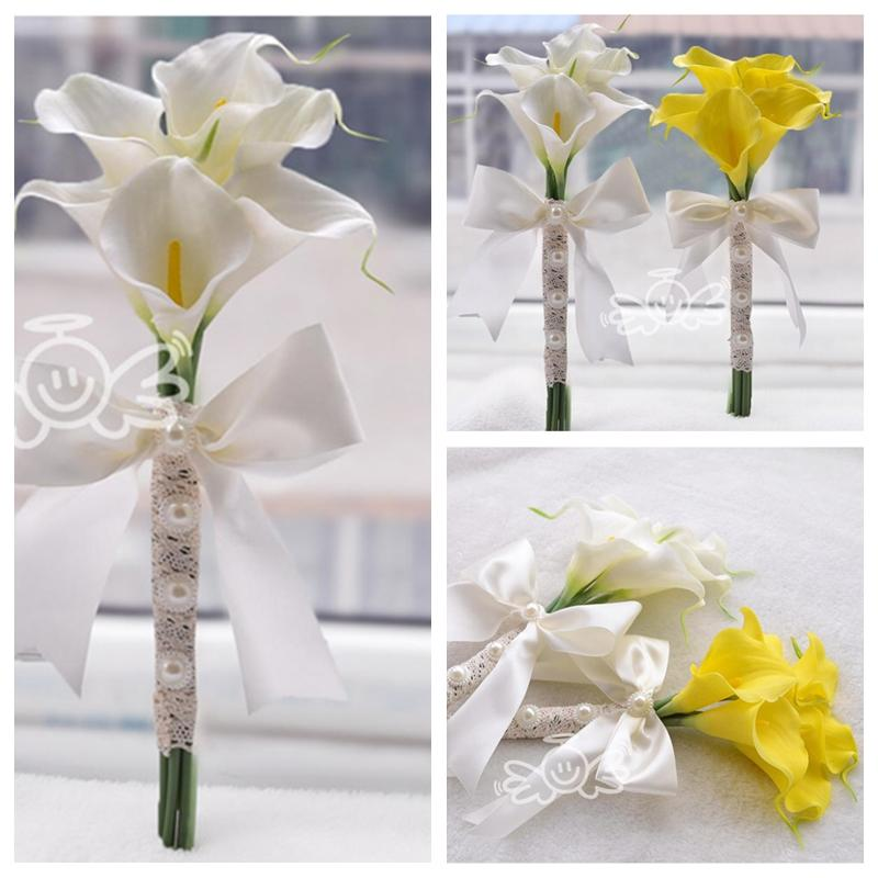 6pcs Calla Lily Flowers Bridal Wedding Bouquets Formal Bridesmaid Garden Church Beach Party White Yellow Wholesale Lace Bandage