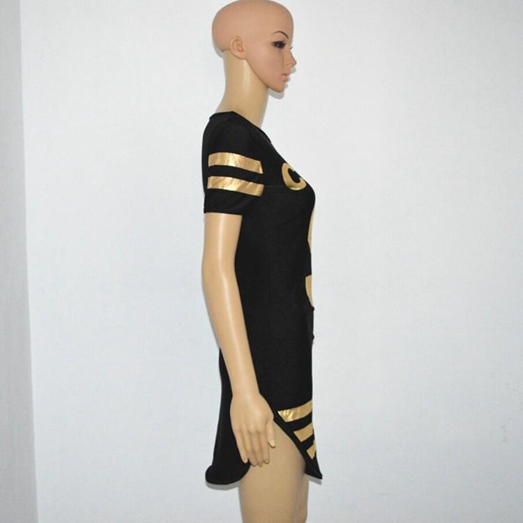 Neuer 2016 heiße Sommer-Frauen Brief 5 Printed Striped Baseball-Sport-Kleid-beiläufige kurze Hülsen Side Split Mini-T-Shirt Jersey-Kleid S-XXL