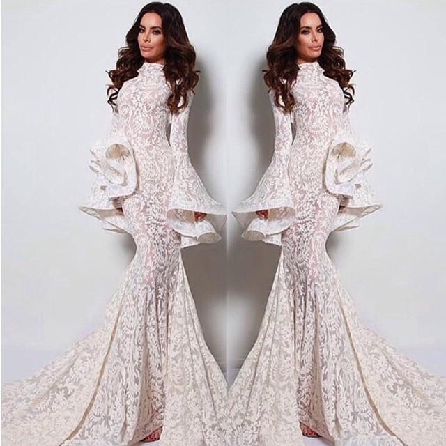 Vestidos de noche árabes Mangas largas Estilo sirena Largo del piso Vestido largo de moda Vestidos de novia Apliques ver a través Vestido de fiesta sexy