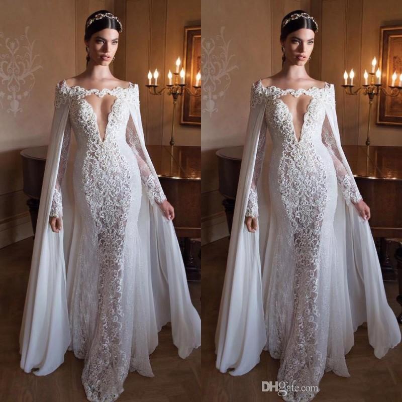 2016 Berta Wedding Dresses With Detachable Cape Off