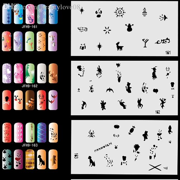 Wholesale Airbrush Nail Stencil Sheets With 300 Designs Art Paint Pages Set No9 Halloween Christmas Etc Machine Shop From Beautylove08