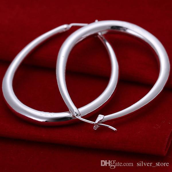 Marque nouvelle plaque en argent sterling trois dimensions boucles d'oreilles en forme de U, DFMSE080 argent 925 femmes Dangle Chandelier boucles es un