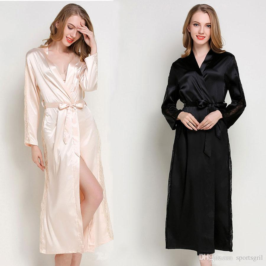 2019 Women Lace Long Sleeve Silk Satin Robe Ladies Sexy Autumn Winter  Bathrobe Sleepwear Peignoir Solid Color Silky Nightgown Nightdress From  Sportsgril bb475623f