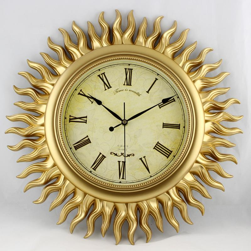 Wonderland Large 18inch Gold Sun Wall Clock European Modern Design ...