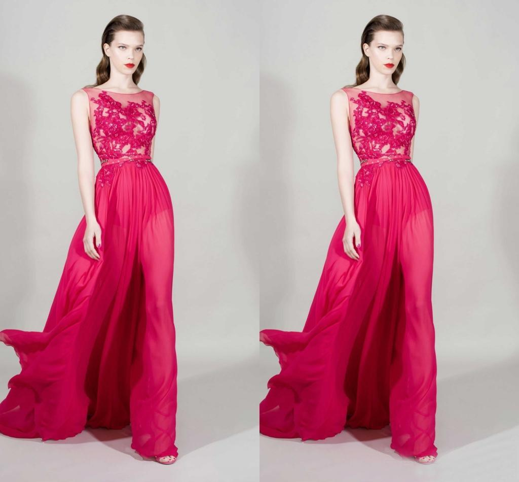 New Fashion Lace Sheer Neckline A Line Long Evening Dresses 2016 Zuhair Murad Chiffon With Beads Formal Gowns Custom Made China EN12153