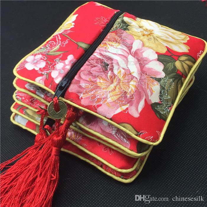 Bronzing Flower Small Zip Gift Packaging Bags Tassel Chinese Coin Purse Silk Satin Fabric Jewelry Bracelet Bangle Storage Pouch