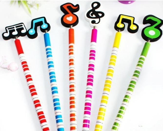 Nette Musik-Beschreibungs-Karikatur-hölzerne Bleistift-Neuheit-Schulbriefpapier-Bleistifte für neues Geschenk der Studenten-Weihnachtsgeschenk-2015 freien Verschiffen