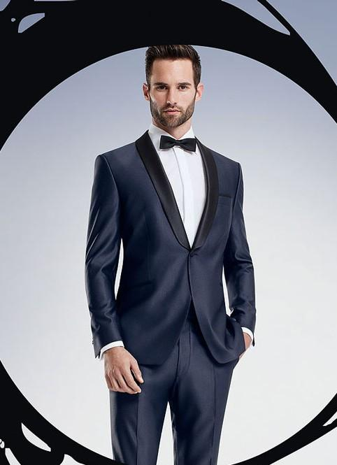 Wedding Suits for Men Navy Blue Men Suits for Prom Satin Shawl ...