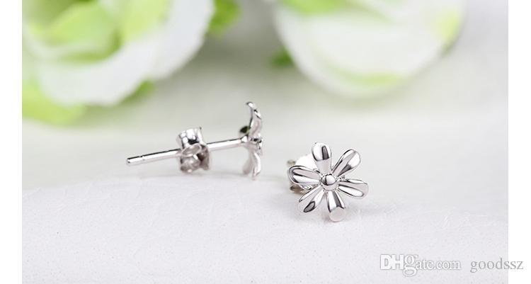 925 스털링 실버 스터드 귀걸이 패션 쥬얼리 여자를위한 약간 야생 국화 꽃 간단한 귀걸이 여자 고품질