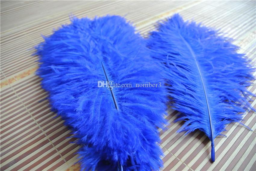 Commercio all'ingrosso 100 pz 14-16 pollice royal blue piuma di struzzo centrotavola di nozze decorazione di nozze centrotavola del partito