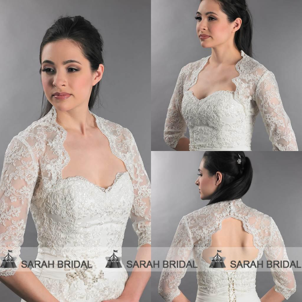 Real Sample Bridal Bolero Jacket Wedding Dress Half Sleeve Lace ... 0e2f8120d78e