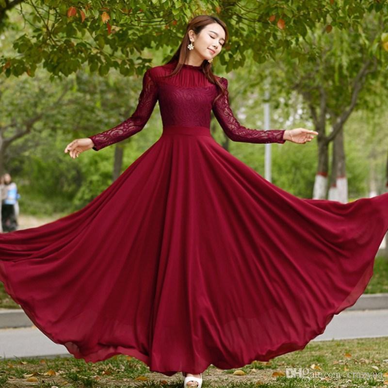 2016 New Style Women Long Chiffon Dress Long Sleeve Slim Big Swing ... 98043e9945