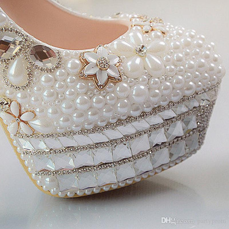 Beautiful Vogue Crystals and Pearl High Heels Wedding Bridal Shoes Woman Party Prom Dress Shoes
