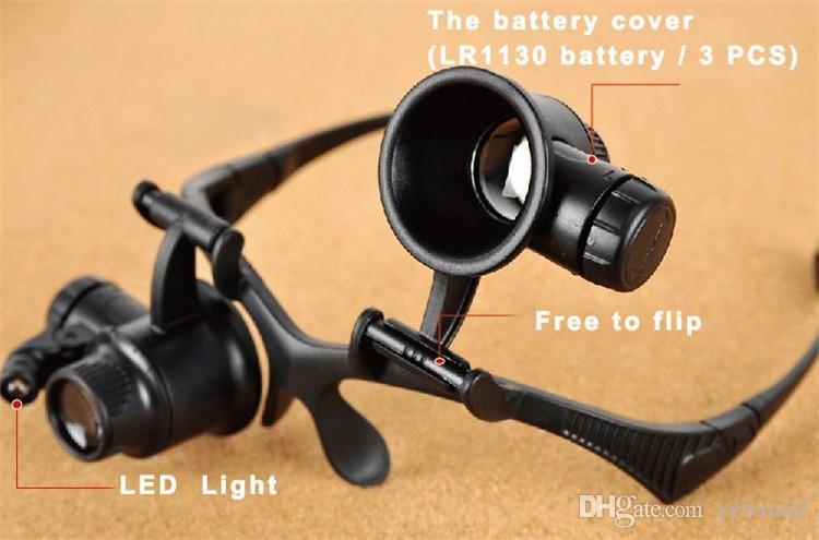 Göz Kuyumcu İzle Onarım Büyüteç 2 LED Işık Araçları 10X 15X 20X 25X Büyütme Lupa Optik Lensler Büyüteç 1 adet