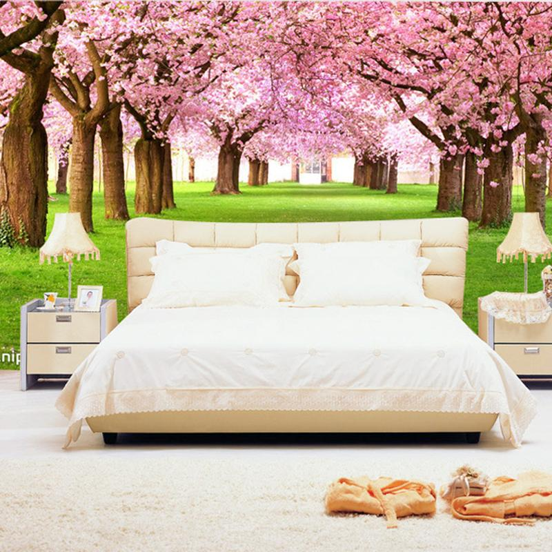 New HOT Can Be Customized Large Mural 3d Wallpaper Bedroom Living Room TV  Backdrop Classical French Style Romantic Spring Lawn Pink Flowers Wall  Paper Large ...