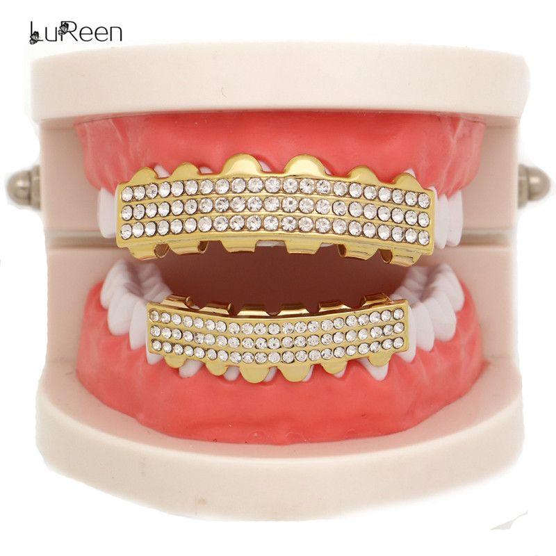 LuReen 14k Gold Silver Teeth Grillz 3 Row Rhinestone CZ Iced Out Top and Bottom Teeth Set Hip hop Grillz Bar DJ Jewelry