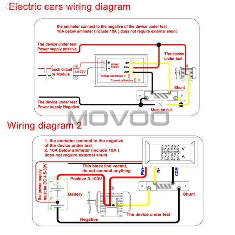 Wholesale 2in1 Volt Meter Dc 0100v100a Blue Red Led Digital Rhdhgate: 12v Amp Meter Wiring Diagram At Oscargp.net