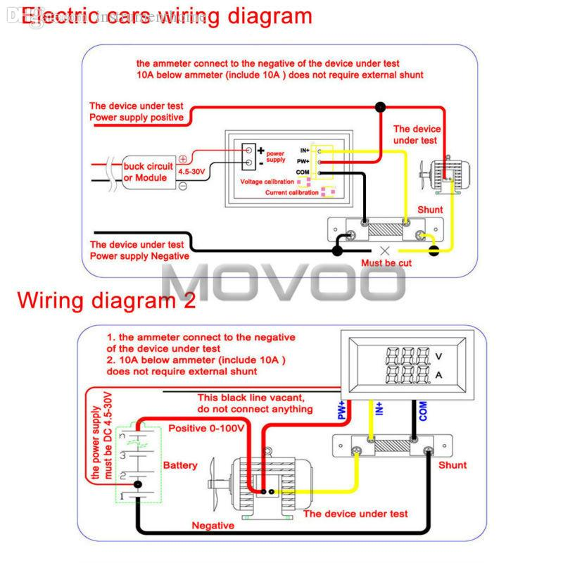 wholesale 2in1 volt amp meter dc 0 100v 100a blue red led digital rh dhgate com Vehicle Amp Meter 400 Amp Meter Socket Wiring Diagram