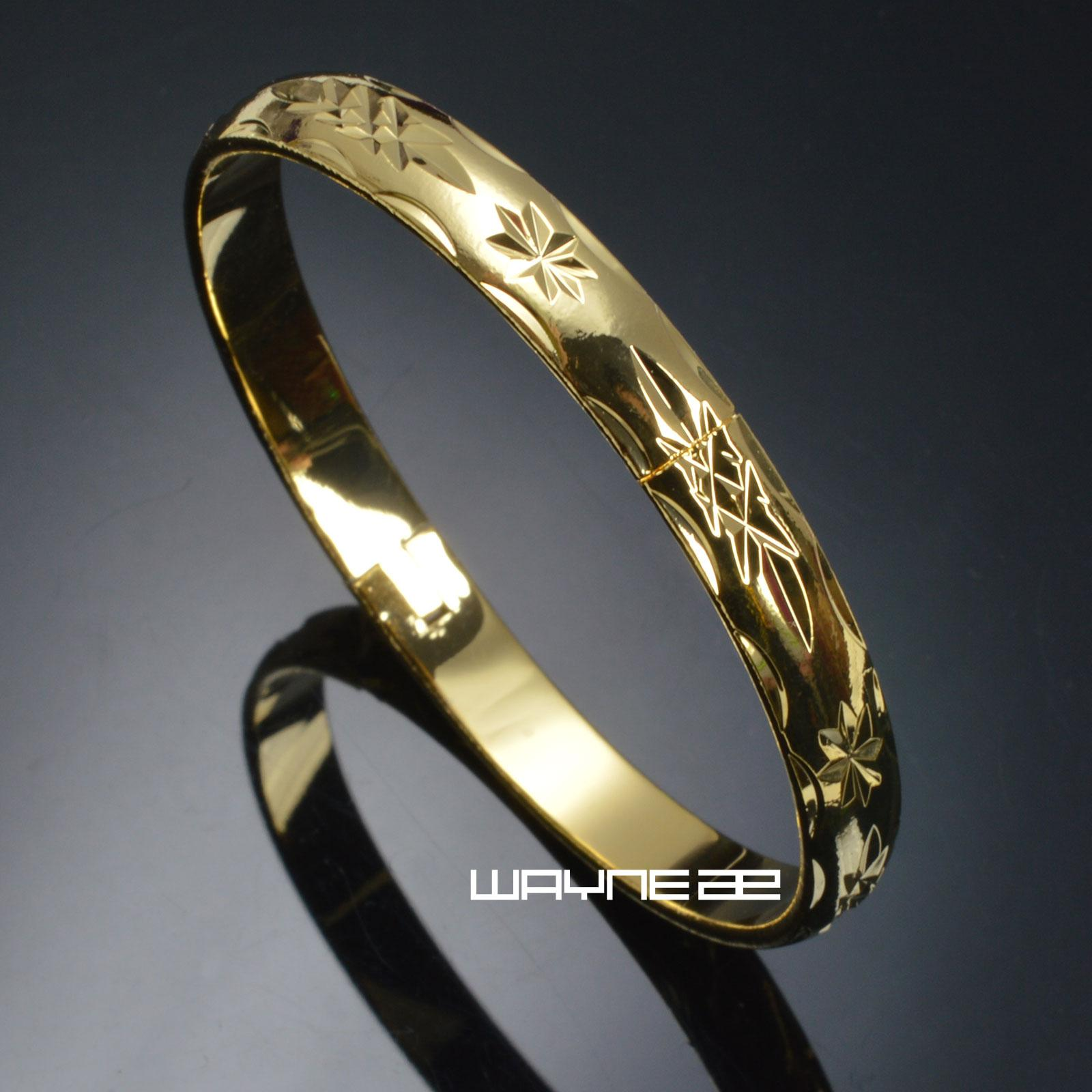 Luxury women 18K Yellow Gold Filled carved Wedding bangle G130 inner Dia. 57mm