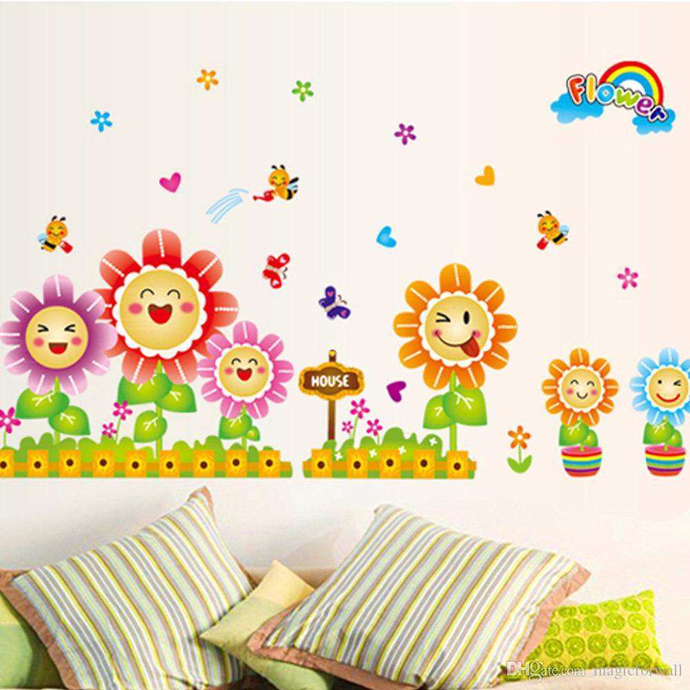 Kids room wall decor stickers - Cute Spring Wall Decor Stickers For Kids Room Nursery Decoration Butterflies Bees Around Sunflowers In Fence Planters Wall Art Posters Custom Vinyl Wall