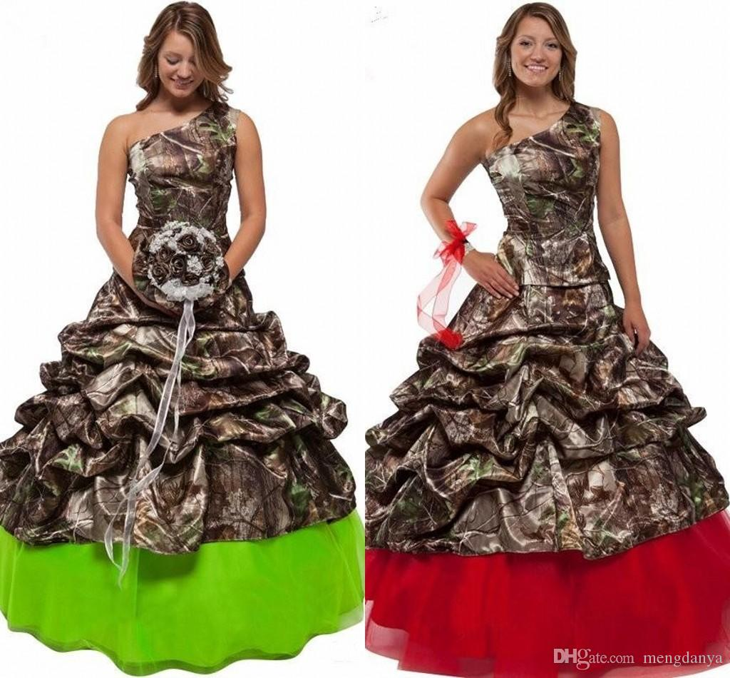 New Fashion One Shoulder Ruched Wedding Dress 2019 Red Green Blue Camouflage Wedding Dress Bridal Floor Length m46