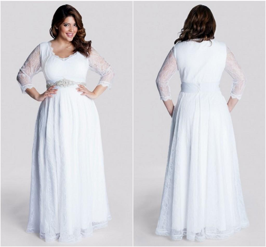 Discount plus size long sleeve wedding gowns floor length for Wedding dresses for larger sizes