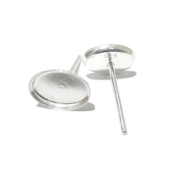 Серьги компоненты Beadsnice 925 серебряные серьги с пустой Овальный безель настройки базы 5x7mm Камея серьги шпильки настройки пустой код 27259