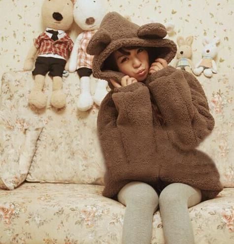 Hot Autumn Winter Womens Cute Cartoon Sweatshirts Coats Bear Ears Hoodies Fleece Cardigan Outwear Jacket Sweatshirt