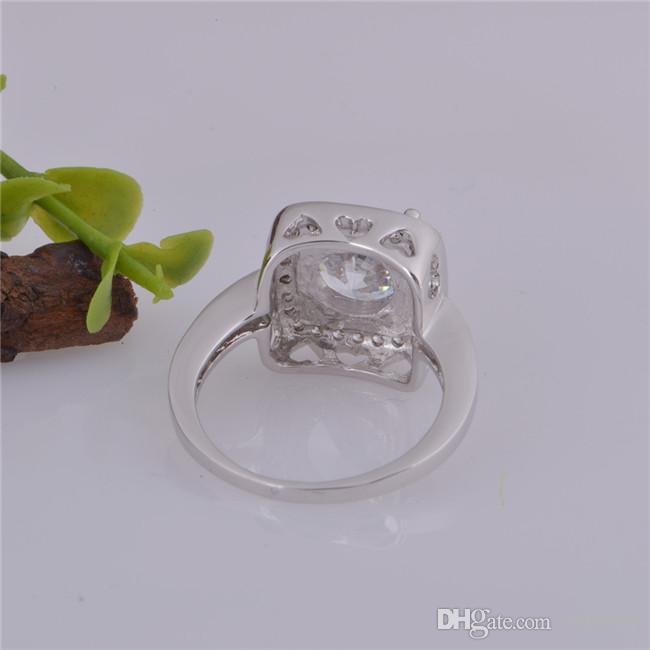 2015 تصميم جديد 925 الاسترليني السويسري تشيكوسلوفاكيا الماس خاتم الزواج البلاتين مطلي أعلى جودة الأزياء والمجوهرات الشحن مجانا