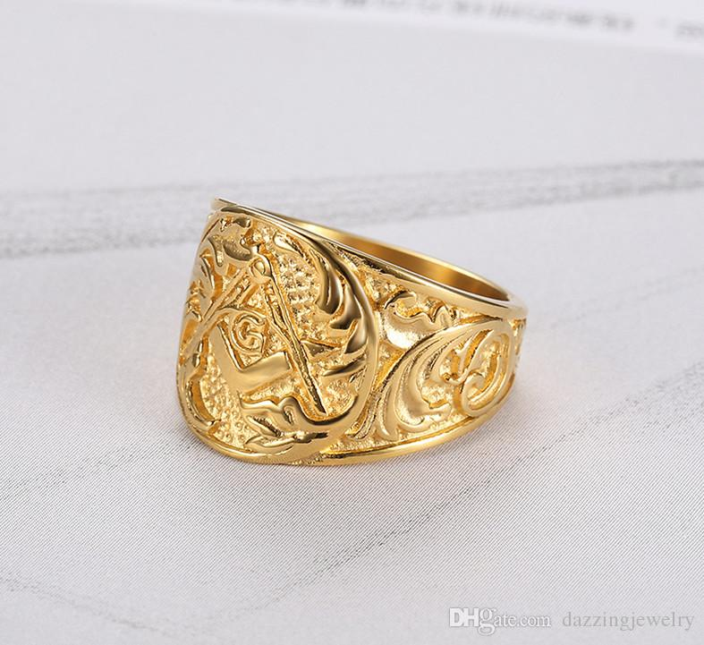 Black Silver Gold Three Colors Stainless steel 316 Gothic Vintage Religious Master freemason signet Masonic Symbols Ring for men