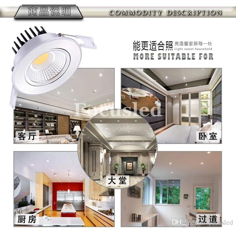 """NEW Model 3.5"""" 4.5"""" 5.5"""" CREE 9W 12W 15W 20W Dimmable-Non COB LED Downlights High Bright Tiltable Fixture Recessed Ceiling Down Lights Lamps"""