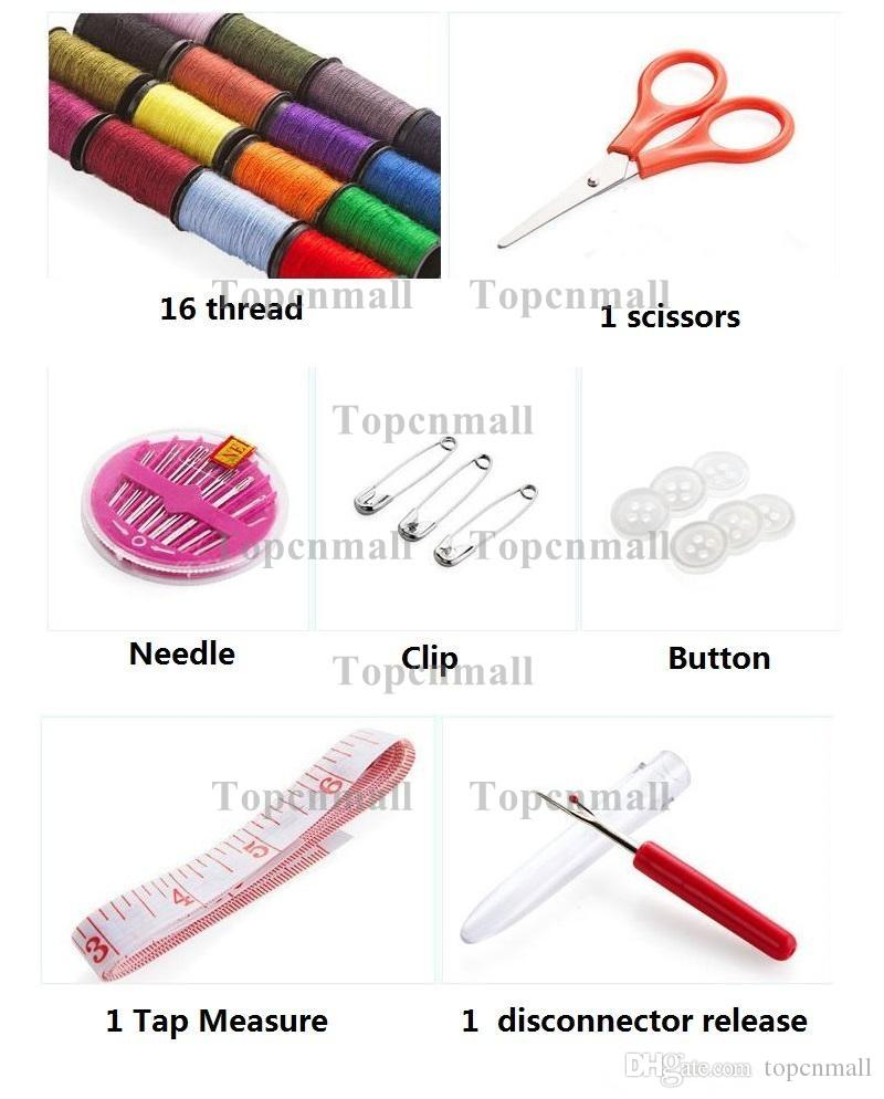 DIY 12 Needle Tape Scissor Disconnector Release Multifunction Threads Sewing Kits Portable Useful Travel Home Sewing Tools TPML-0462