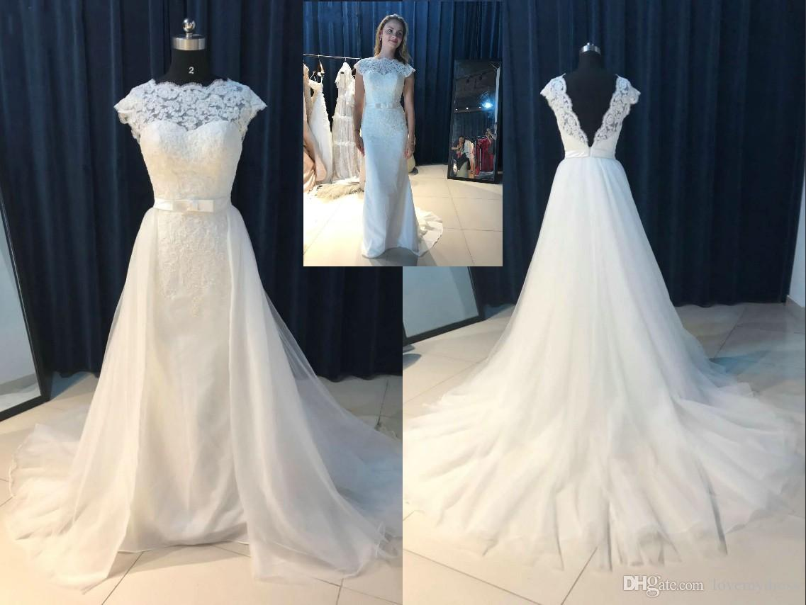 321c825c7573 Discount Magic Detachable Train A Line Lace Wedding Dress Plus Size Real  Photo Bateau Sheer Neck V Backless Tulle Applique Beaded Sequins Bridal  Gown Weding ...