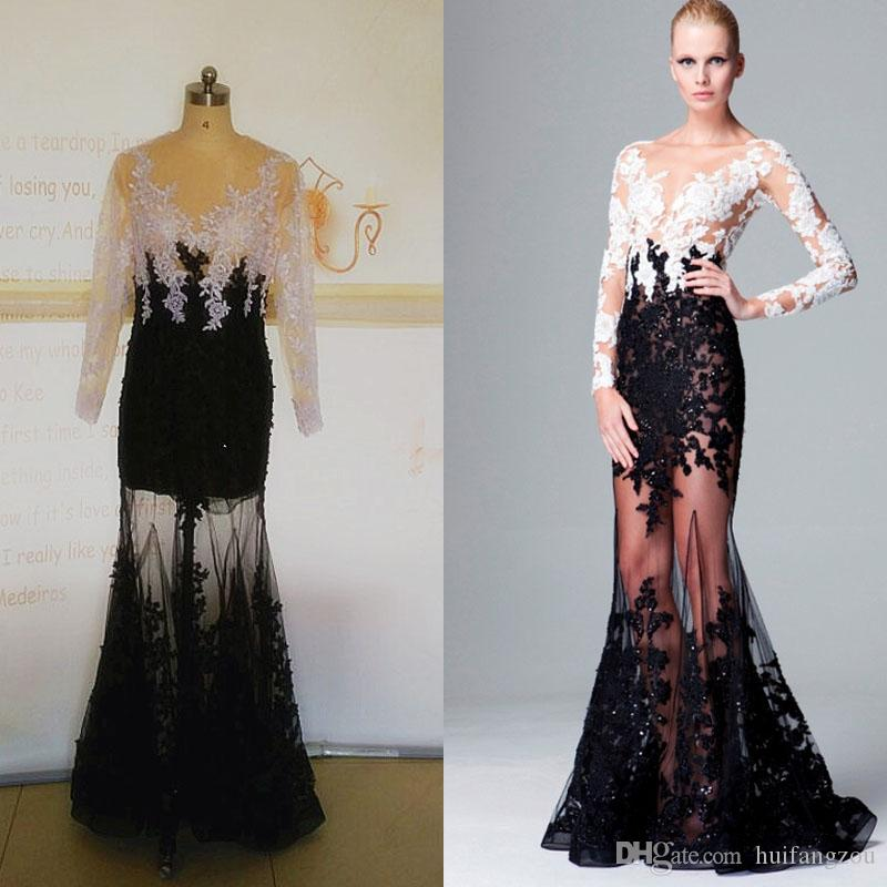 55d4f6edda7c 2017 Elegant Zuhair Murad Cheap Evening Dresses With Long Sleeve Black  White Lace Appliques Crystals Floor Length Mermaid Party Prom Dress  Designer Evening ...
