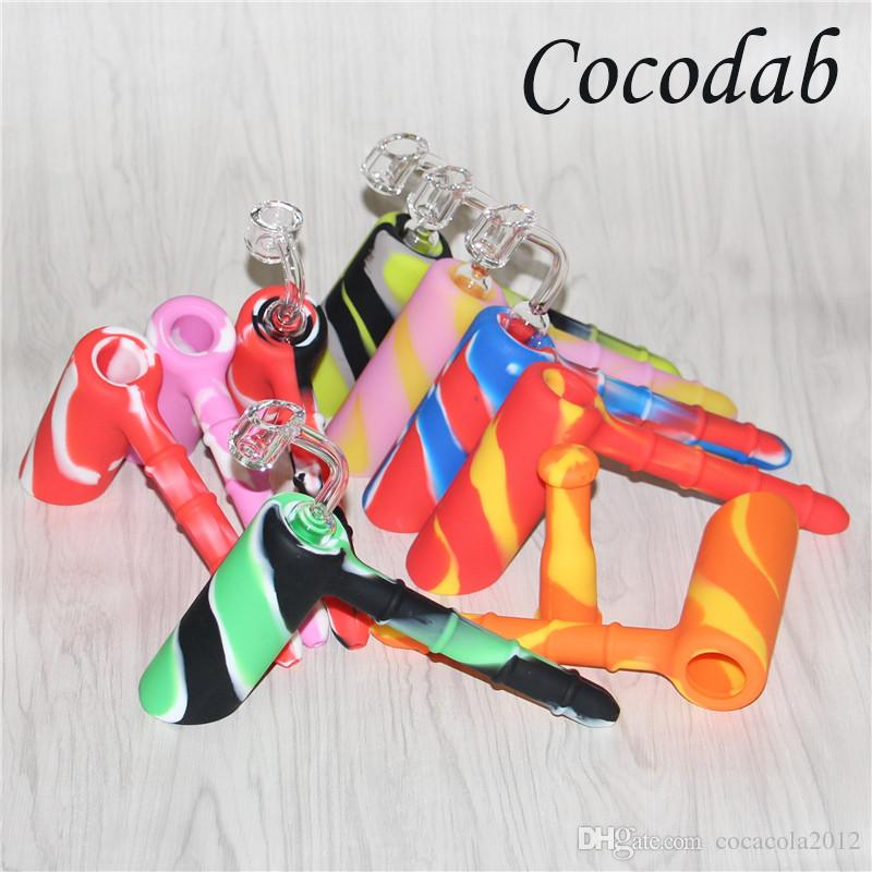 Creative Design Showerhead Silicone Smoking Pipes Mini Water silicone bubbler Bong Multi Colors Portable Hammer Hand Pipes +4mm Quartz nail