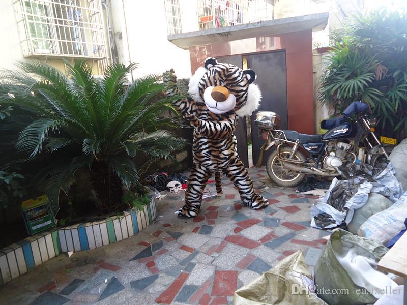 Costumes Adulto Tamanho Tiger traje da mascote fantasia animal Tiger Mascot Holloween Ano Novo Costumes vestido de festa Tiger Mascot