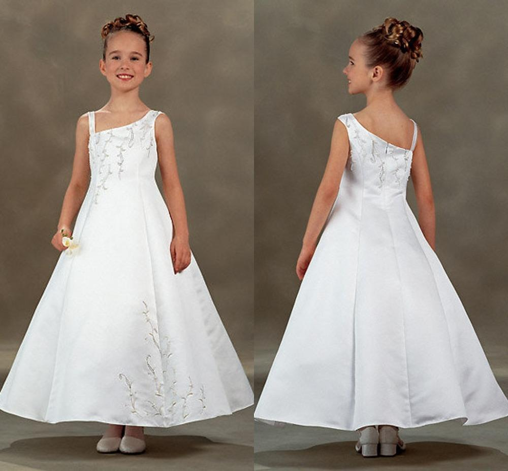 One Shoulder White Satin Flower Girls Dresses Long With Embroidery A