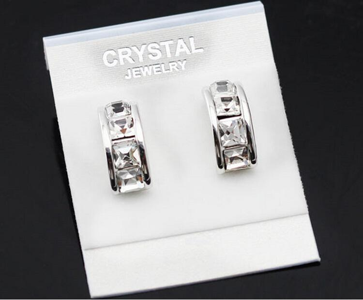 Sıcak Satış Kare Damızlık Küpe Kadınlar Için Avusturyalı Kristal kristal hoop küpeler Gümüş Beyaz swarovski kristal küpe 8193