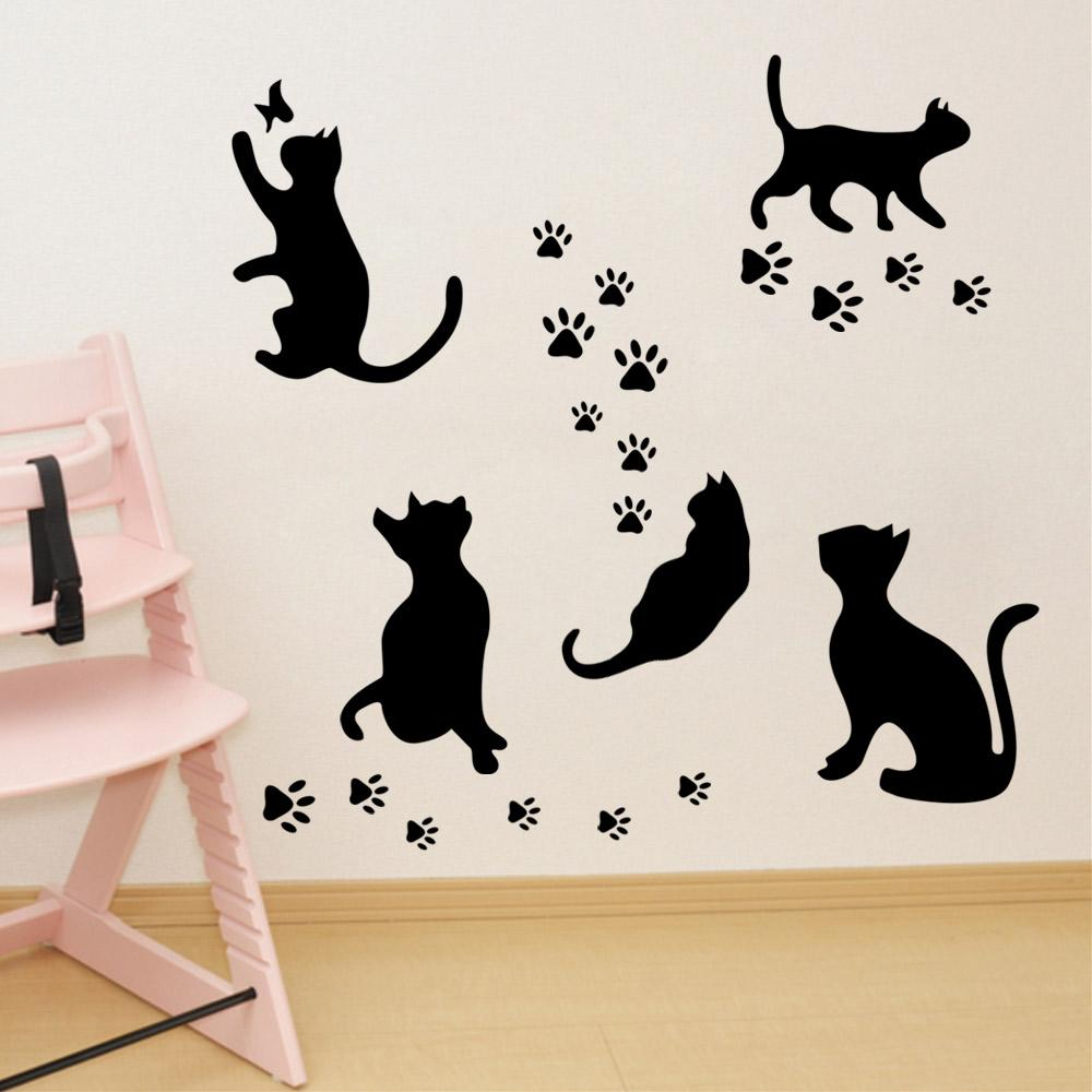 New arrival black cats and their paws wall art mural poster new arrival black cats and their paws wall art mural poster sticker home art decoration wallpaper decal decor girl wall stickers girls bedroom wall stickers amipublicfo Images