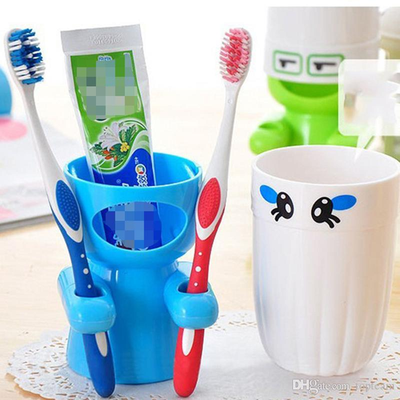 . Bathroom Toothbrush Toothpaste Holder Wash Gargle Suit Toothbrush Holder  Suction Cup Holder Plastic Storage Rack Box Set