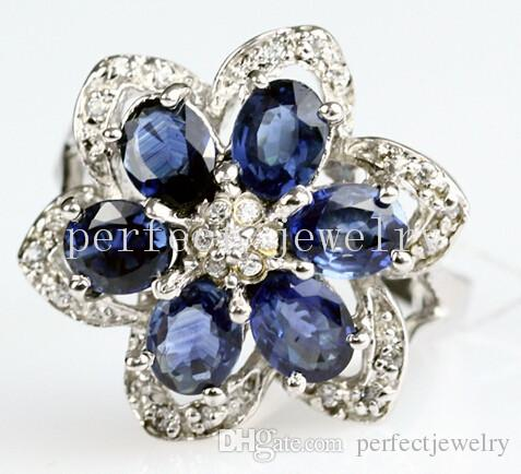 sapphire perfect plated gold ring per silver zircons blue with natural and sterling real jewelry gems item