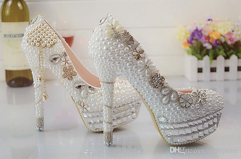 Beaux vogue cristaux et perles talons hauts chaussures de mariée de mariage femme parti bal robe chaussures