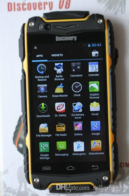 new discovery V8 android 4.2.2 capacitive screen phones smart phones Waterproof Dustproof Shockproof WIFI Dual camera ZKT