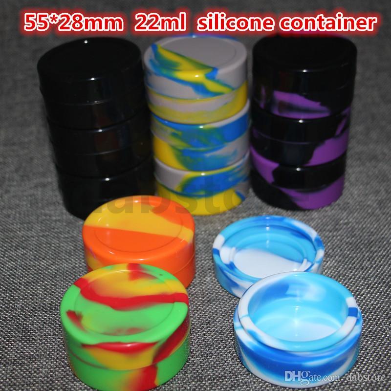 Silikon Balmumu Yağı Konteyner 22 ml 55 * 28mm Konteynerler Silikon Kavanoz Balmumu Konsantre Balmumu Konteynerler Toptan Ücretsiz Kargo DHL