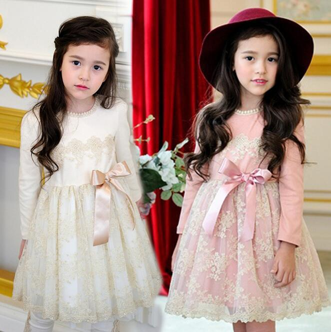 2018 Kids Lace Dress 2018 Spring Hot Korean Girls Princess Dress With Bowknot Long Sleeve Beading Children Clothing Wear 100  9age T1901 From