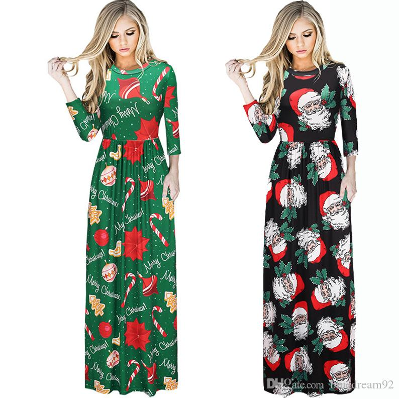 european vestidos plus size women casual maxi club party dresses long sleeved ladies printing dress christmas clothing dresses for womens black ladies dress