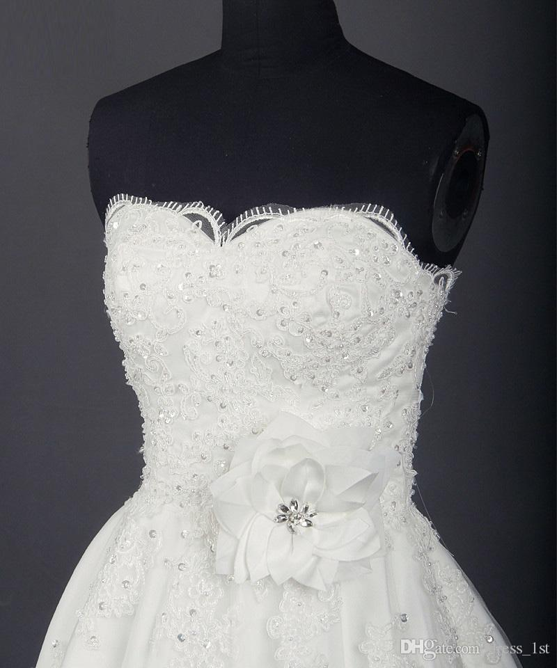 Real Photos Short Lace Brautkleider 2017 Schatz Perlen Mit Handgemachten Blumen Brautkleider Nach Maß Aus China EN11256