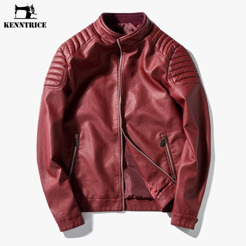 614fe9f3ab26 2019 Wholesale Kenntrice Youth Leather Jackets Red Blue Black Men ...