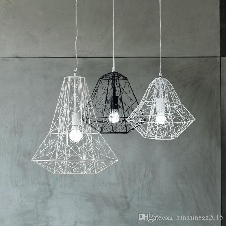 Nordic Industrial Style Hive Metal Cage Pendant Light Chandelier Living Room Lamp White Black Bulbs Red Lighting From Sunshinegz2015